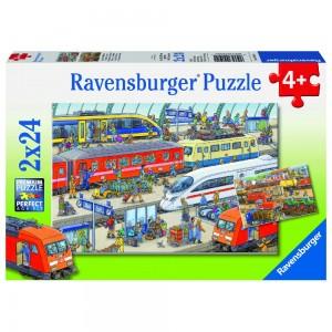 Trubel am Bahnhof 2 x 24 Teile Puzzle