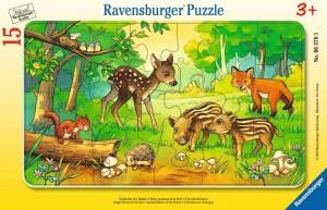 Tierkinder des Waldes 15 Teile Rahmenpuzzle