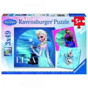 DFZ: Elsa, Anna und Olaf 3 x 49 Teile Puzzle