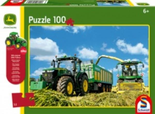 7310R Traktor mit 8600i Feldhäcksler, Puzzle 100 Teile + SIKU Traktor JOHN DEERE