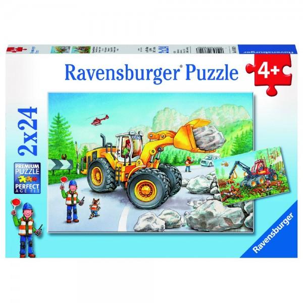 Bagger und Waldtraktor 2 x 24 Teile Puzzle