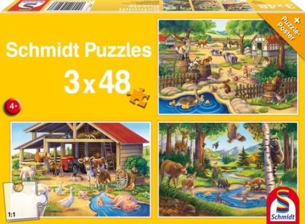 Alle meine Lieblingstiere Puzzle 3x48 Teile