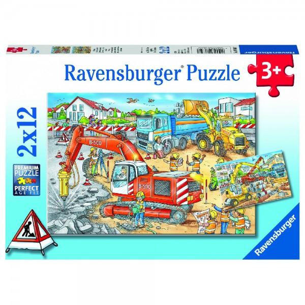 Achtung, Straßenbaustelle! 2 x 12 Teile Puzzle