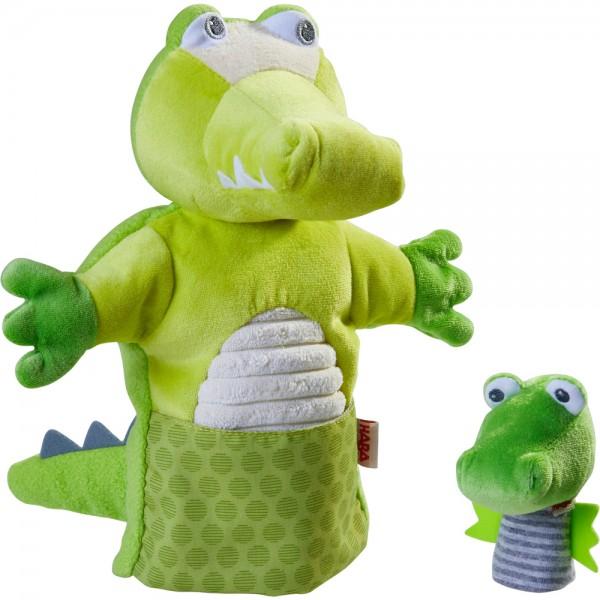 Handpuppe Krokodil mit Baby HABA