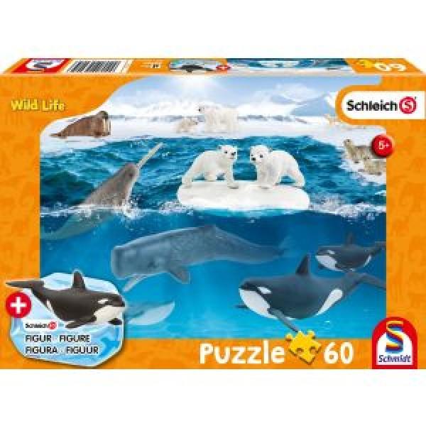 Wild Life, In der Arktis, Schleich Puzzle 60 Teile, mit Add-on (eine Original Figur)